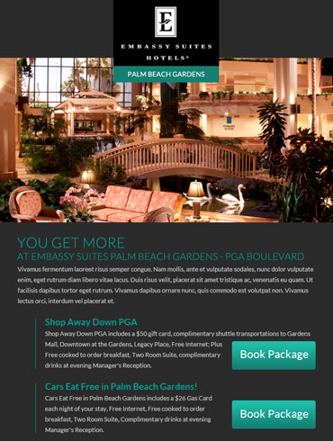 Hotel Email Design - Embassy Suites, Palm Beach Gardens