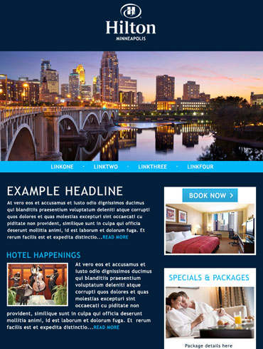 Hotel Newsletter Email Design - Hilton, Minneapolis