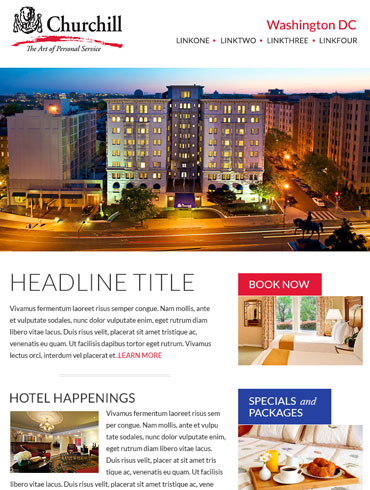 Hotel Newsletter Email Design - Churchill, Washington DC