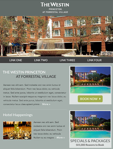 Hotel Newsletter Email Design - The Westin Princeton at Forrestal Village
