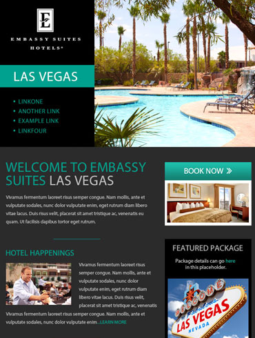Hotel Newsletter Email Design - Embassy Suites, Las Vegas