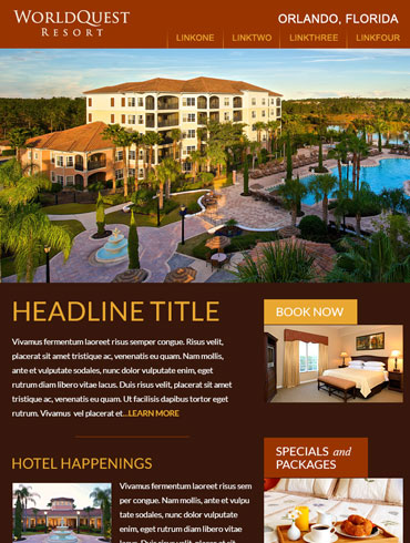 Hotel Newsletter Email Design - Worldquest Resort, Orlando