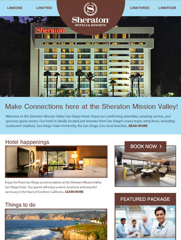 Hotel Newsletter Email Design - Sheraton Hotel & Resorts, Mission Valley